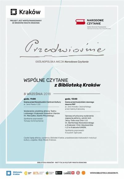 Wspólne czytanie z Biblioteką Kraków przed Galerią Krakowską LIFESTYLE, Książka - 8 września o godzinie 13:00 na scenie przed Galerią Krakowską odbędzie się tegoroczna edycja Narodowego Czytania.