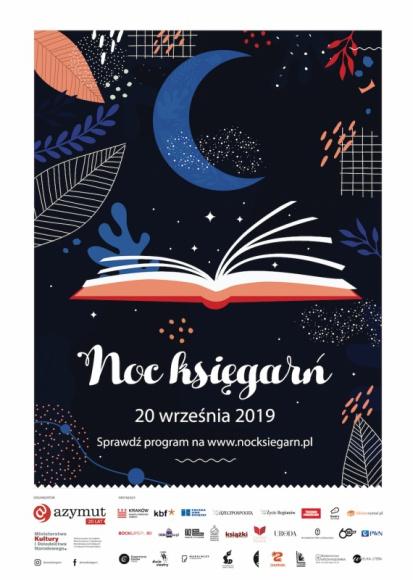 Noc Księgarń. Wielkie święto księgarń i czytelników już 20 września! LIFESTYLE, Książka - 20 września, po zmroku, w ponad 100 księgarniach stacjonarnych w całej Polsce rozpocznie się Noc Księgarń. Na gości czekają wieczorne spotkania autorskie, koncerty, warsztaty, pokazy filmów, a nawet literackie potańcówki.